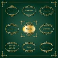 Conjunto de molduras e bordas de luxo dourado. vetor