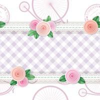 Gasto chique têxtil sem costura de fundo com rosas e bicicletas vetor