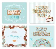 Cartões de chuveiro de bebê para meninos. Modelos de doces em azul pastel.