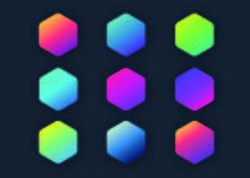 Hexágonos de gradientes holográficos vetor