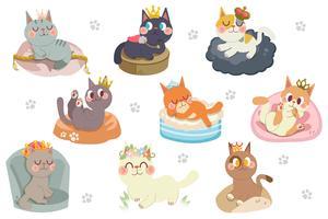 Personagem de gatos bonito dos desenhos animados com pacote de coroas