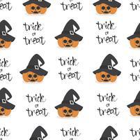 abóbora de halloween usando padrão sem emenda de chapéu de bruxa