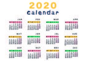 Modelo de calendário colorido e bonito vetor
