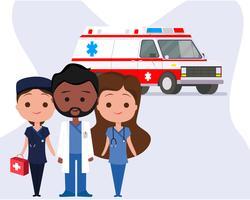 Ambulância com Personagens vetor