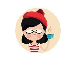 Personagem de xícara de café