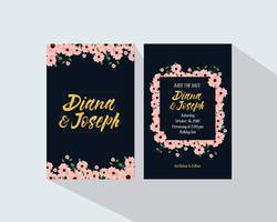 Convite de casamento com lindas flores vetor