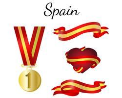 Bandeira de fita de medalha de Espanha vetor