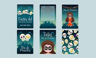Cartões Fiesta del Dia de los Muertos vetor