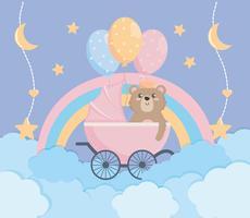 Cartaz de chuveiro de bebê com ursinho de pelúcia vetor