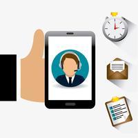 Ícones de suporte de serviço ao cliente com homem segurando o telefone inteligente