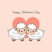 Feliz dia dos namorados cartão postal. Casal doce ovelha