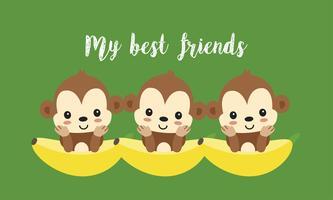 Melhores amigas com macacos fofos. Desenho de animal feliz selva.