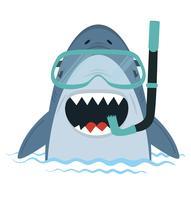 Tubarão branco com equipamento de mergulho na água