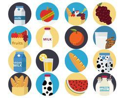 Conjunto de comida de ícones vetor