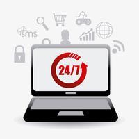 Laptop exibindo 24-7 atendimento ao cliente