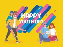 Cartaz do dia feliz juventude com jovens casais vetor