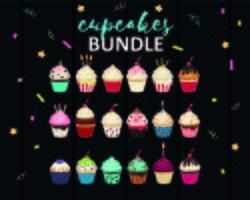 Conjunto de Cupcakes vetor