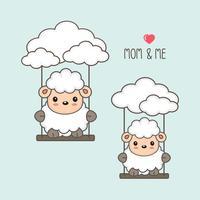 Ovelhas e bebê balançam no céu.