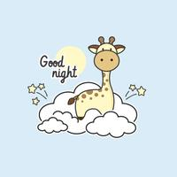 Girafa bonitinha sentada nas nuvens. vetor