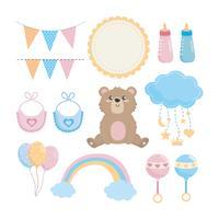 Conjunto de menino menina bebê chuveiro decorações vetor