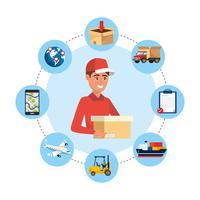 Pacote de entrega masculino com ícones de serviço de entrega
