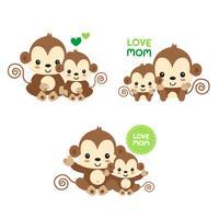 Mãe e bebê macaco. vetor
