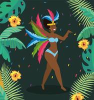 Dançarina de carnaval feminino com folhas e flores vetor