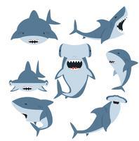 Conjunto de tubarão branco e tubarão-martelo vetor