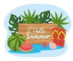 Olá sinal de verão com melancia e chinelos