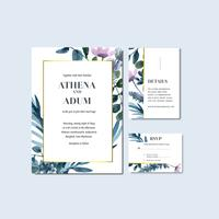 Convite floral tropical do casamento e coleção do cartão de RSVP vetor