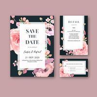 Convite de casamento floral rosa no conjunto de cartão preto vetor