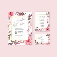 Conjunto de cartão de convite de casamento floral rosa