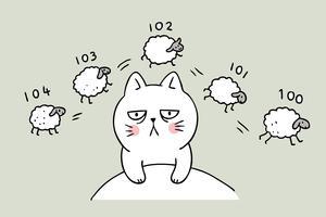 Gato bonito dos desenhos animados, contando ovelhas
