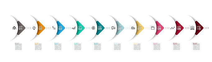 Seta de semicírculo em infográficos horizontais com 10 etapas