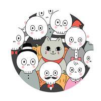 Quadro de círculo de esqueletos de gato e vetor
