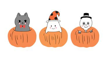 Dia das bruxas, gato e fantasma e esqueleto em grande abóbora