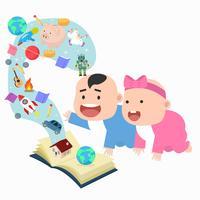 Bonito pequeno menino e menina livro aberto histórias maravilhosas vetor