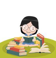 Menina sente-se lendo o livro de pilhas