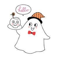 Dia das bruxas, fantasma e osso da cabeça vetor