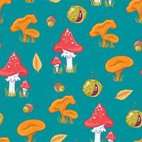 Outono cogumelo e castanhas sem costura padrão vetor