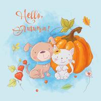 Cartão bonito dos desenhos animados gato, cachorro e abóbora com texto Olá outono