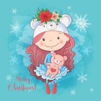 Cartão de Natal com menina dos desenhos animados com ursinho de pelúcia e um buquê de poinsétia