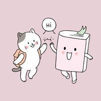 Desenho animado bonito volta para escola gato e livro toca vetor