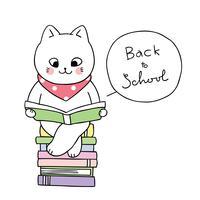 volta ao livro de leitura de gato de escola vetor