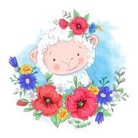 Ilustração dos desenhos animados de uma ovelha bonita em uma grinalda de flores vermelhas.