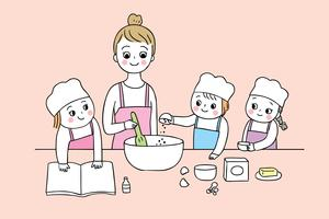Desenhos animados bonitos volta às aulas de culinária da escola vetor