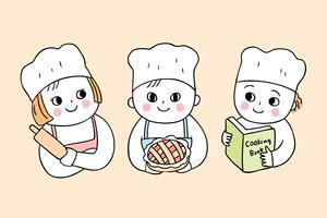 Desenhos animados bonitos volta às aulas de culinária da escola com três alunos vetor