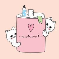 Gatos bonitos dos desenhos animados e caderno vetor