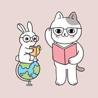 de volta à escola gato e coelho lendo livro