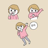 Desenhos animados bonitos volta para menina da escola